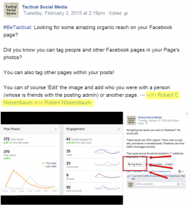 #BeTactical: Facebook brand pages can tagging individuals and other pages in images.