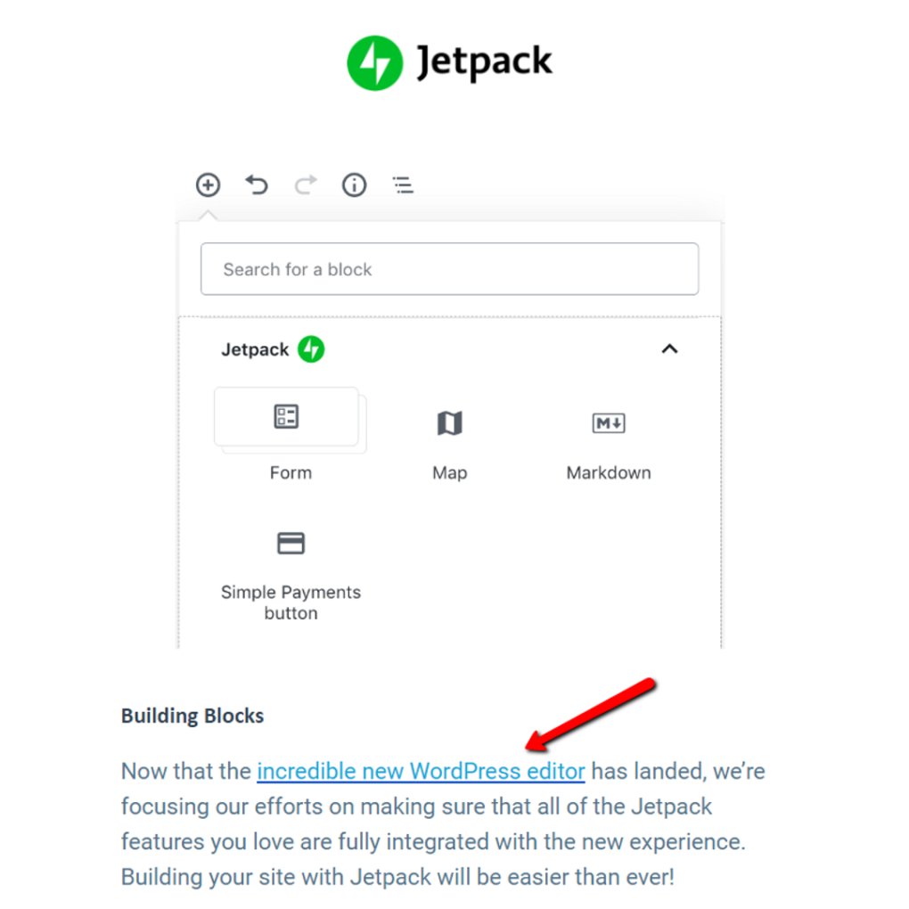 Jetpack does not refer to the new editor as the Gutenbeg editor