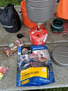 Breakfast on Day 2 - MSR stove, backpacker meal, and a fig bar